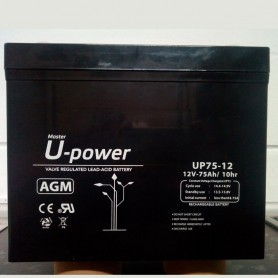 Batería solar plomo AGM 12v 75ah Upower UP75-12